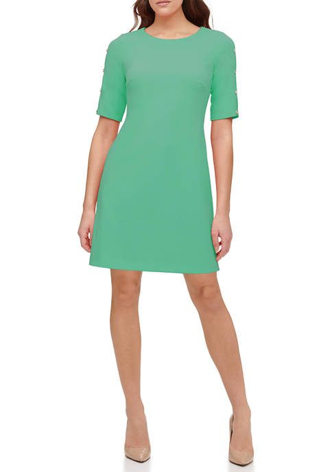 Womens Scuba Crepe Shift Dress with Button Sleeves