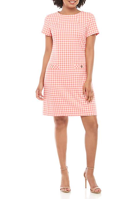 Short Sleeve Gingham Shift Dress