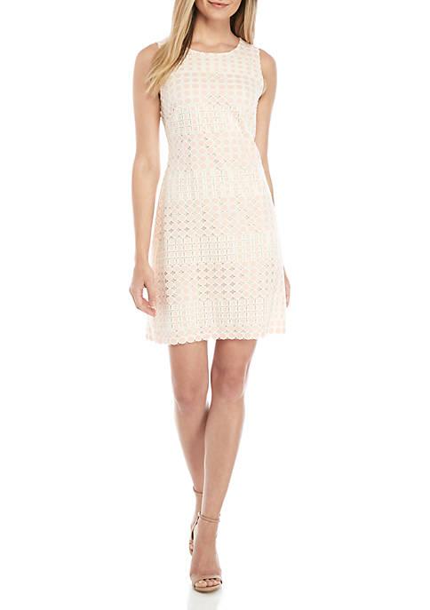 Sleeveless Lace Link Shift Dress