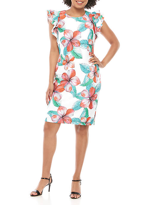 Ruffle Sleeve Shift Scuba Dress