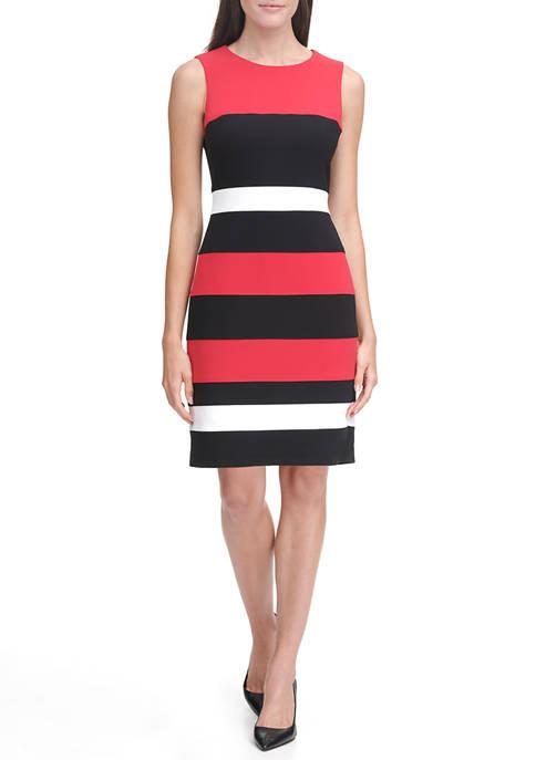 Sleeveless Color Block Crepe Dress