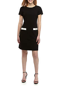 99858124 ... Tommy Hilfiger Short Sleeve Crepe Pocket Detail Dress