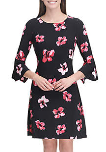 Tommy Hilfiger 3/4 Sleeve Ruffle Floral Dress
