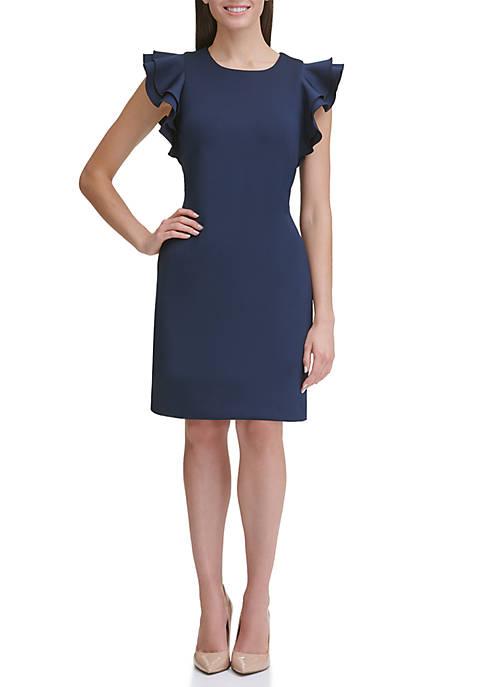 Scuba Sheath Dress with Flutter Sleeves