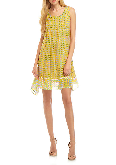 Sleeveless Pleated Front A Line Dress