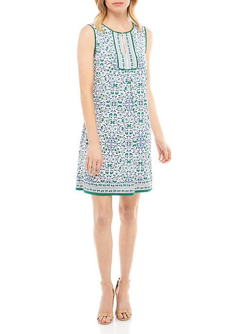 Sophie Max Sleeveless Center Pleat Print Dress