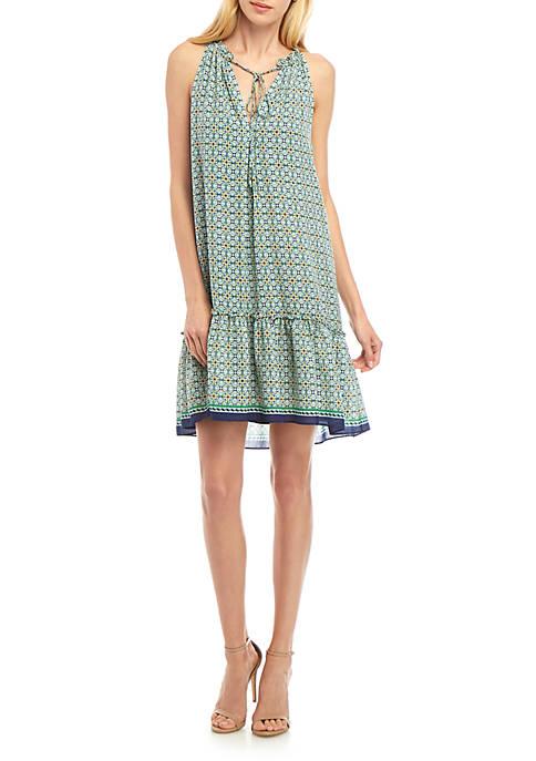 Halter Neck Printed Crepe Dress