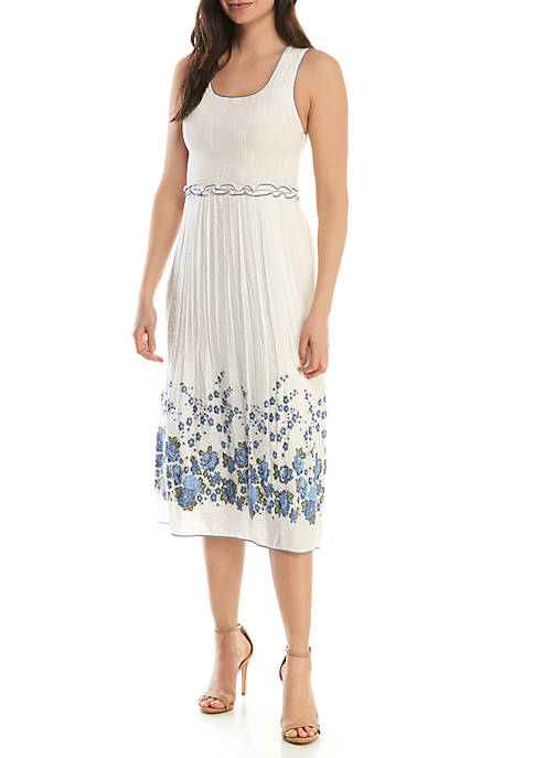Sophie Max Smocked Jacquard Sleeveless Dress