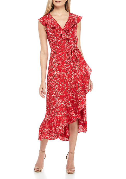 Sophie Max High Low Polka Dot Wrap Dress