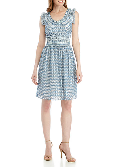 Sophie Max Short Sleeve Ruffled Lace Dress