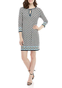 Sophie Max Long Sleeve Printed A Line Dress