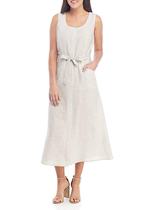 Sleeveless Button Front Striped Linen Dress with Belt