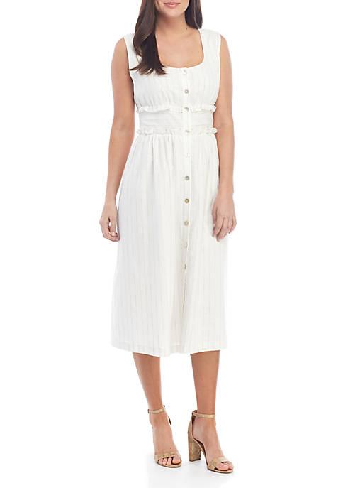 Sleeveless Button Front Striped Midi Dress