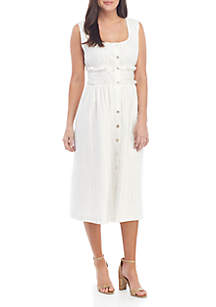 Sophie Max Sleeveless Button Front Striped Midi Dress