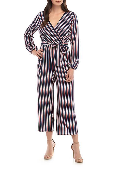 June & Hudson Long Sleeve Wrap Stripe Jumpsuit