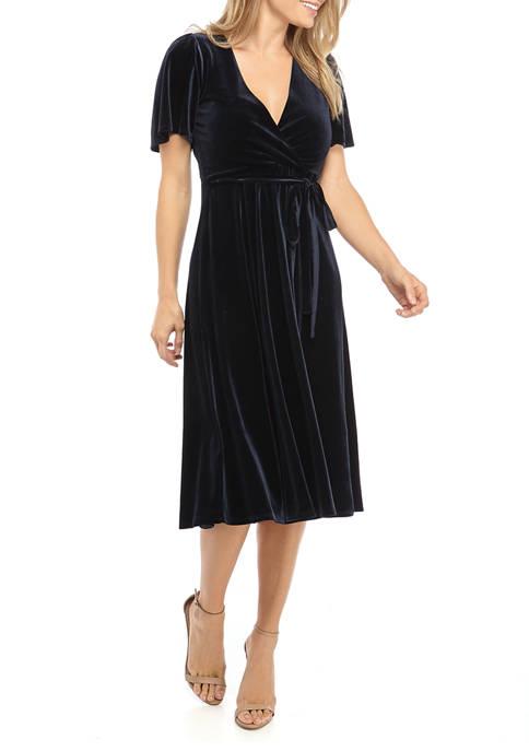 June & Hudson Womens Short Sleeve Midi Wrap