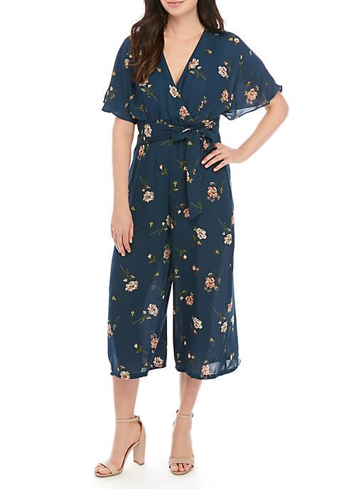 57770c539ae June   Hudson Short Sleeve Ruffle Floral Crop Jumpsuit
