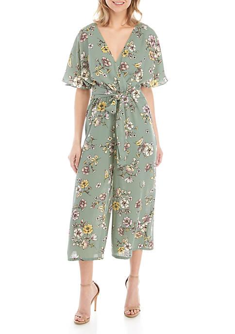 June & Hudson Short Dolman Sleeve Floral Jumpsuit