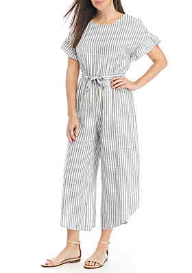1107a441a56 June   Hudson Short Ruffle Sleeve Stripe Crop Jumpsuit ...