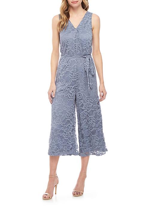 June & Hudson Sleeveless Faux Wrap Lace Jumpsuit