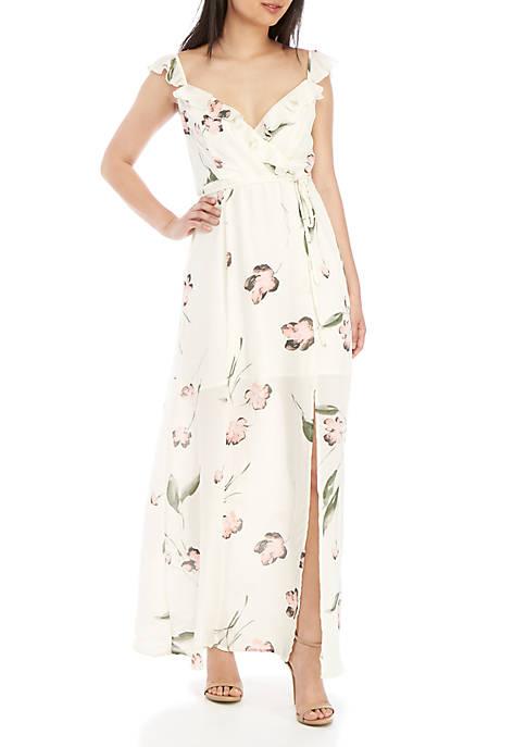 Sleeveless Ruffle Wrap Maxi Dress