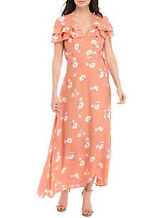 June & Hudson Short Ruffle Sleeve Floral Wrap Maxi Dress