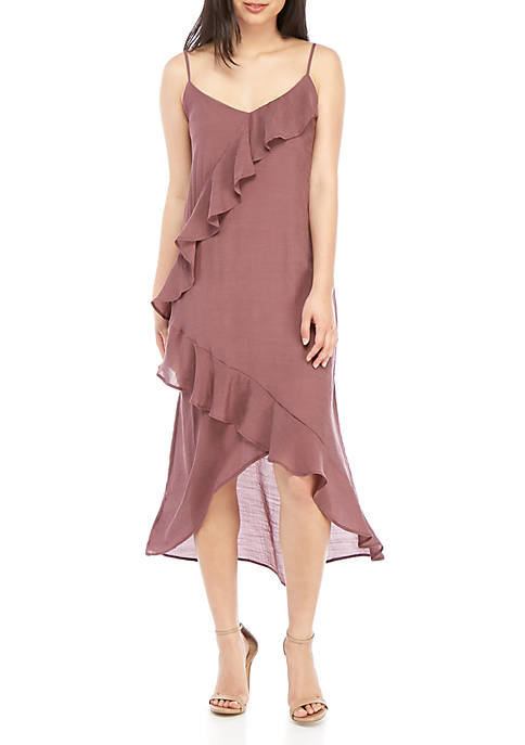 Ruffle Front High Low Dress
