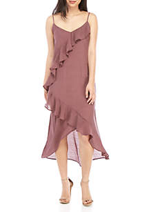 June & Hudson Ruffle Front High Low Dress