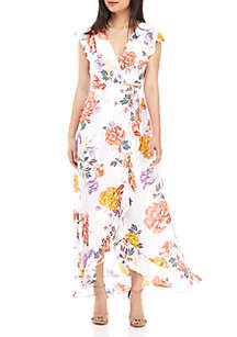 June & Hudson Short Sleeve Floral Wrap Maxi Dress