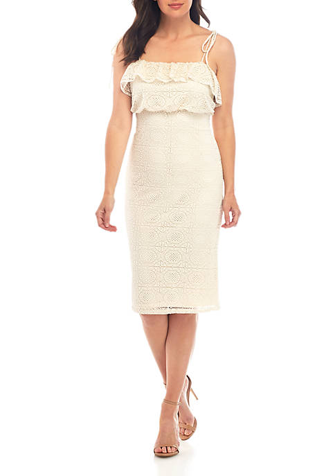 June & Hudson Empire Waist Lace Dress