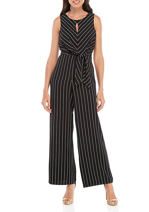 Sleeveless Knot Front Stripe Jumpsuit