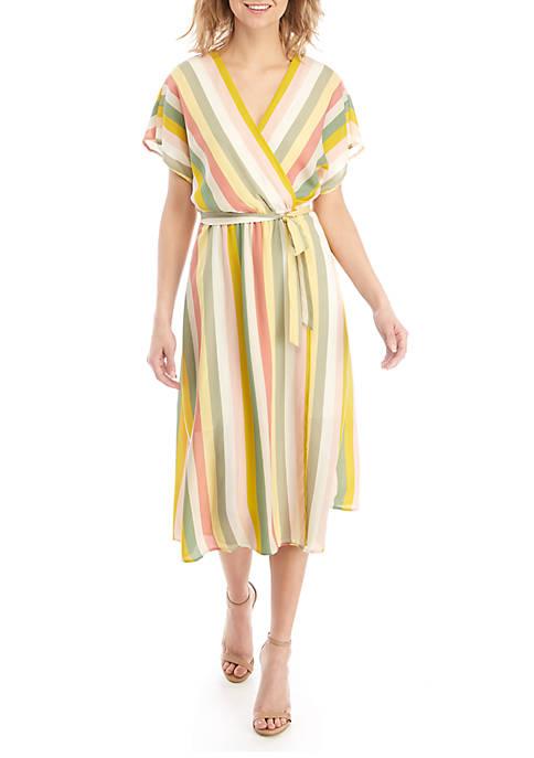 June & Hudson Short Sleeve Striped Midi Dress