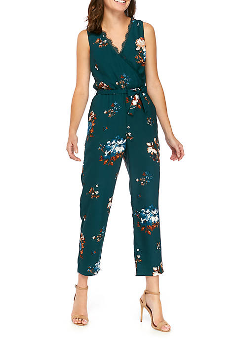 June & Hudson Womens Floral Wrap Top Jumpsuit