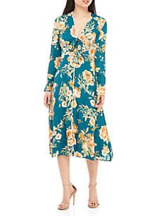 June & Hudson Long Sleeve Floral Midi Dress