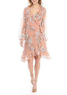 June & Hudson Long Sleeve Ruffle Neck Flounce Hem Floral Dress