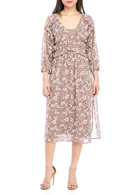 June & Hudson 3/4 Sleeve Floral Smocked Midi