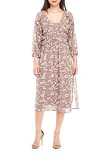 June & Hudson 3/4 Sleeve Floral Smocked Midi Dress