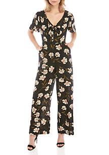 June & Hudson Short Sleeve V Neck Floral Jumpsuit