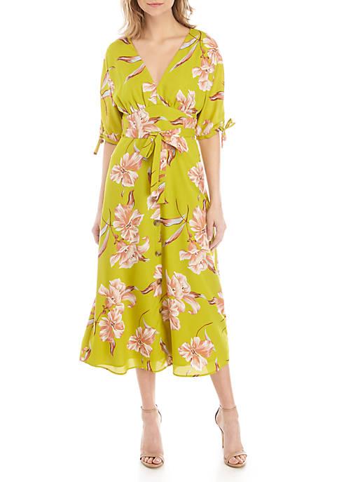 June & Hudson Short Sleeve Chiffon Floral Maxi