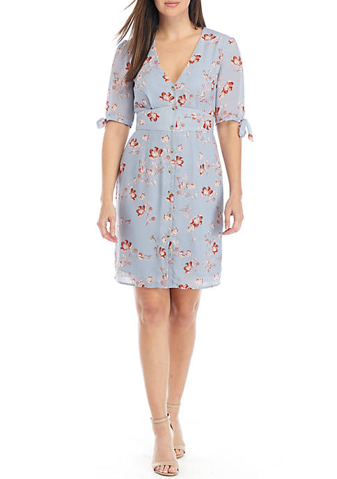 Elbow Tie Sleeve Floral Button Dress