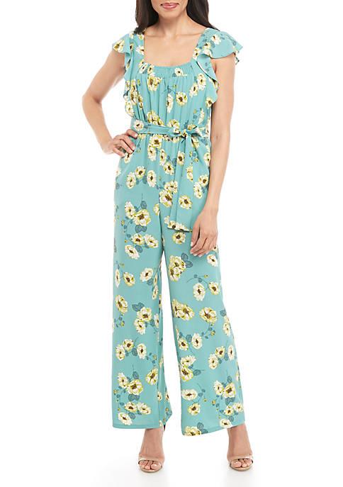 June & Hudson Flutter Sleeve Floral Chiffon Jumpsuit