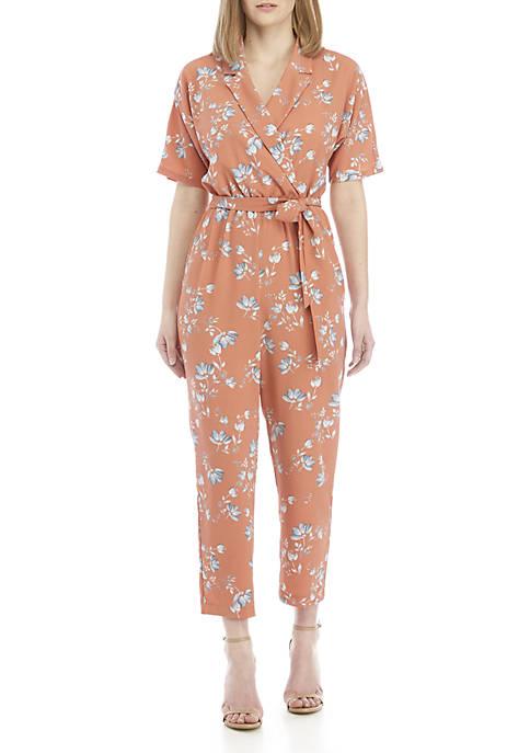 Short Sleeve V Neck Floral Crop Jumpsuit