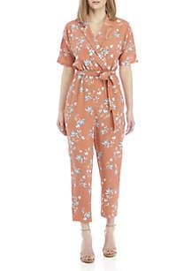 June & Hudson Short Sleeve V Neck Floral Crop Jumpsuit