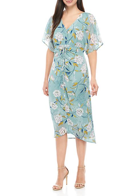 Short Sleeve V Neck Printed Dress