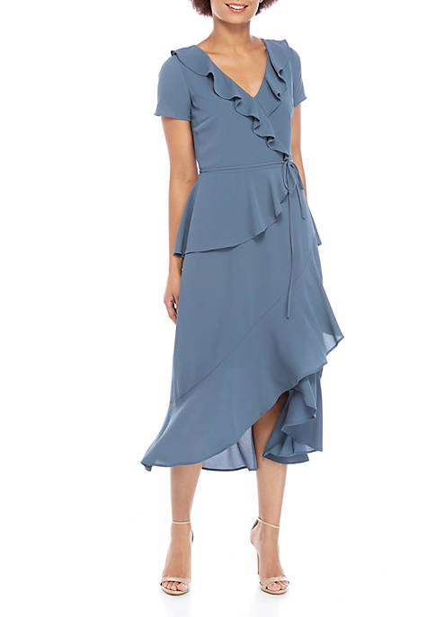 Short Sleeve Ruffle Neck Tiered Short Dress
