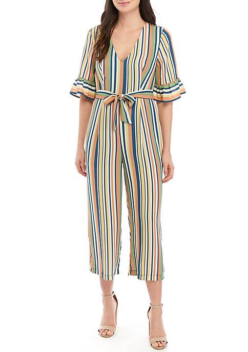 June & Hudson Short Bell Sleeve Stripe Crop