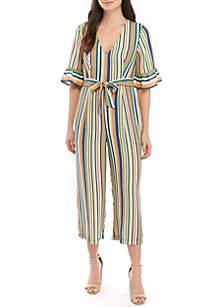 June & Hudson Short Bell Sleeve Stripe Crop Jumpsuit