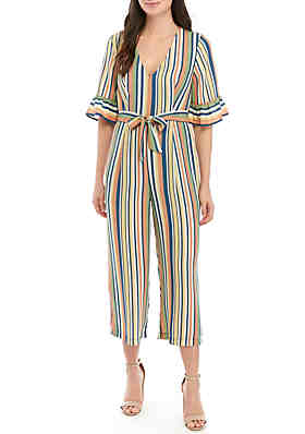 3f3c2a670100 June   Hudson Short Bell Sleeve Stripe Crop Jumpsuit ...