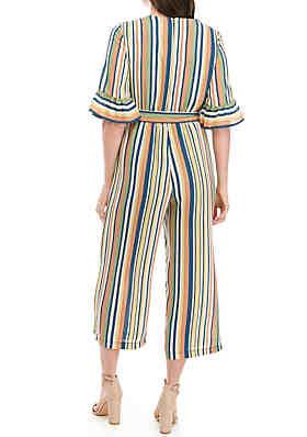 95af18d1cef ... June   Hudson Short Bell Sleeve Stripe Crop Jumpsuit