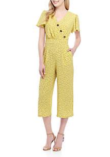 June & Hudson Short Sleeve Printed Button V Neck Jumpsuit